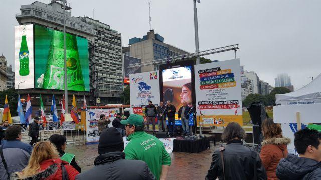Los estatales argentinos conmemoraron su día en una actividad de difusión de la campaña continental