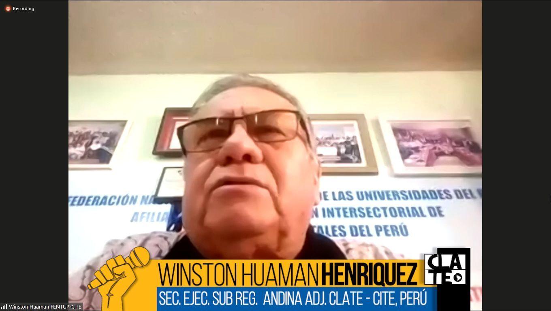 """Winston Huamán: """"Con Vizcarra o sin Vizcarra, los trabajadores vamos a seguir luchando"""""""