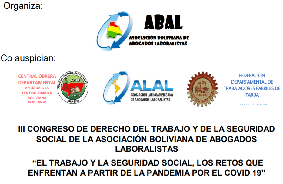 CLATE en el II congreso de derecho del trabajo y de la seguridad social en Bolivia